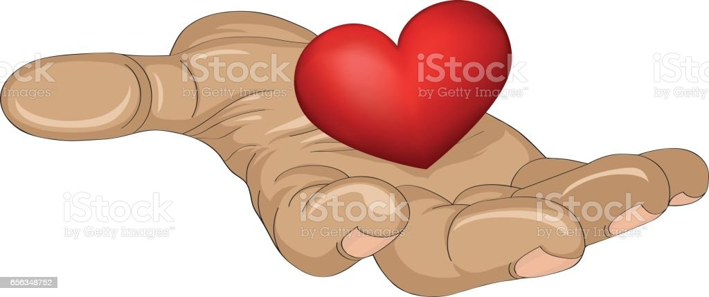 Red heart in the hand.  Gesture open palm.  Vector illustration on white background. vector art illustration
