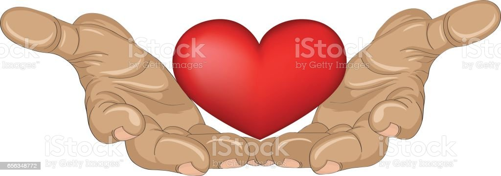 Red heart in the hands. Palms open. Hand gives or receives. Vector illustration on white background. vector art illustration