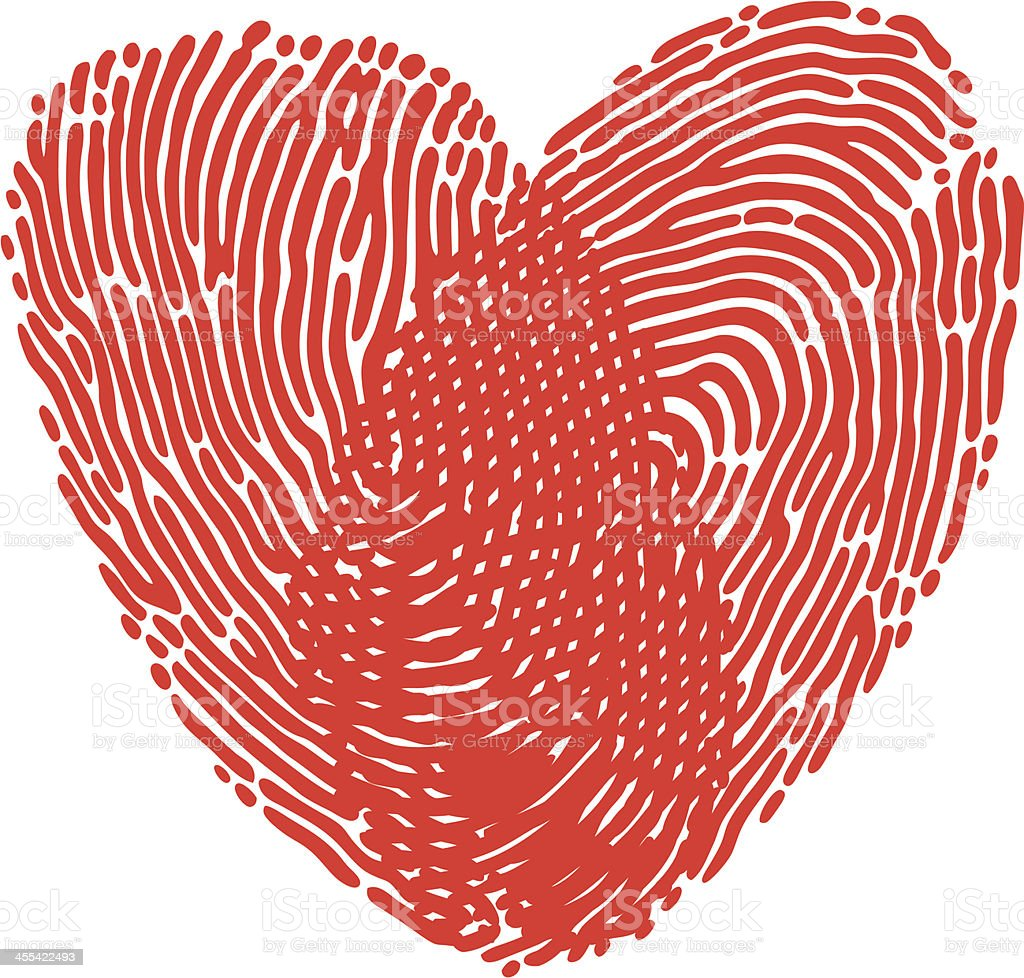 A red heart made by fingerprints royalty-free stock vector art