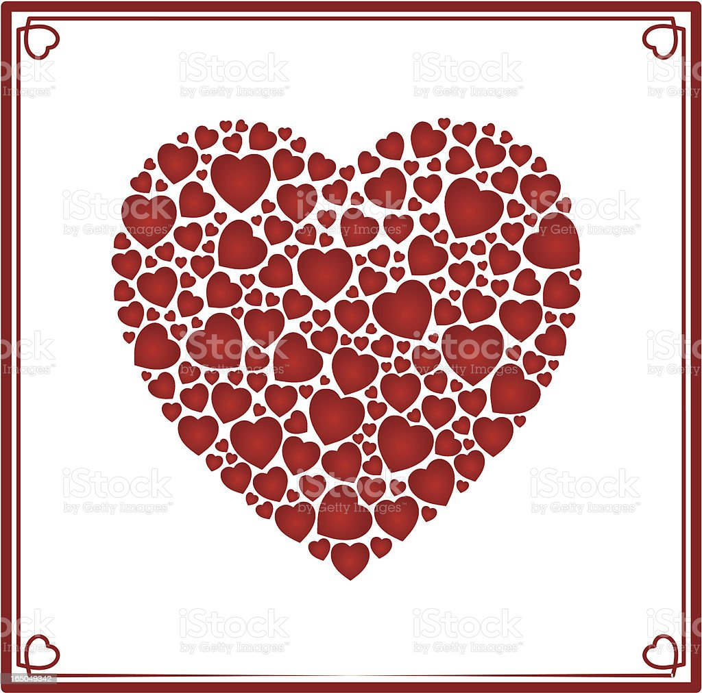 Red heart made of hearts royalty-free stock vector art