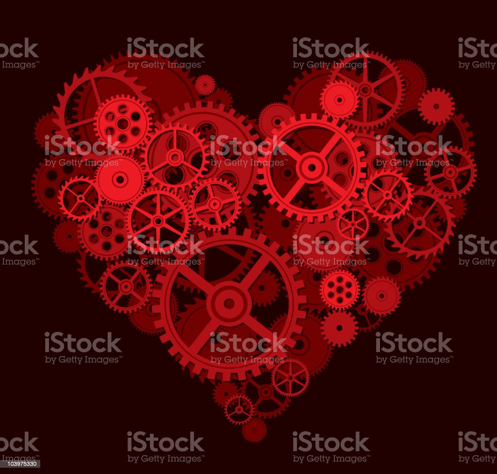 Red heart made up of cogs and gears vector art illustration