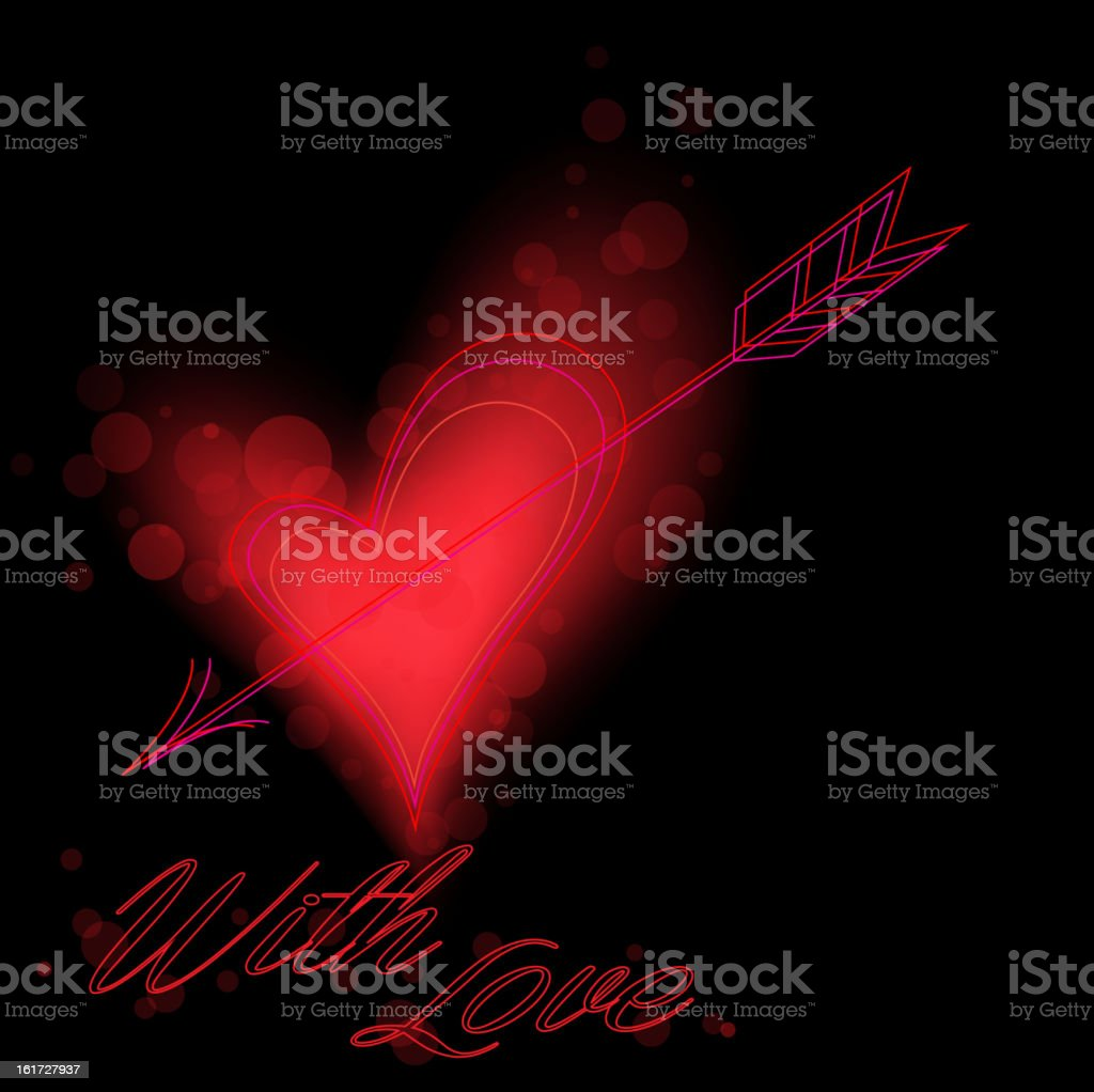 Red heart on black royalty-free stock vector art