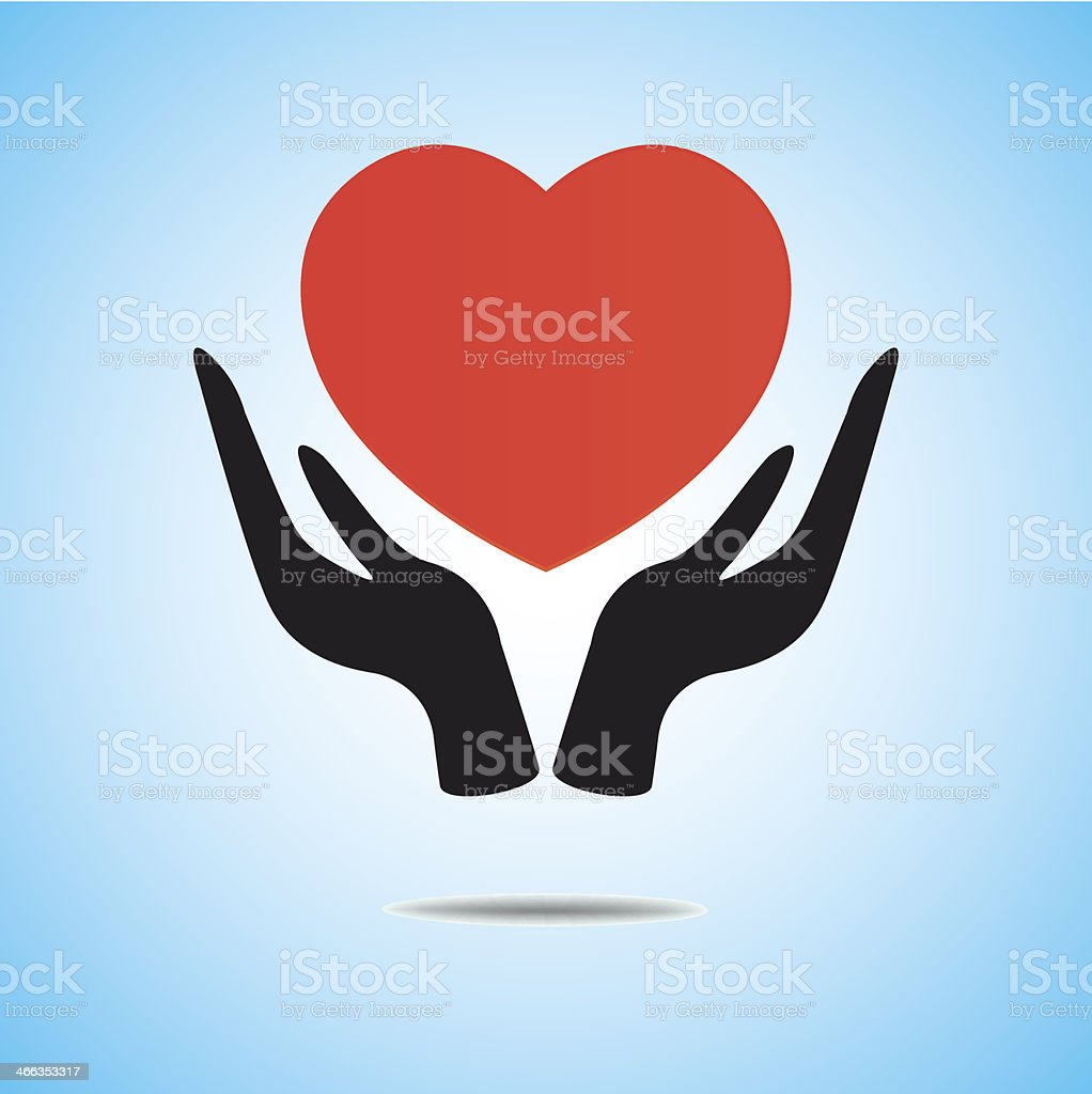 Red heart on hand, vector icon royalty-free stock vector art
