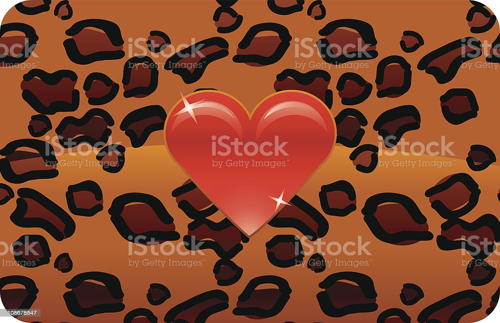 Red Heart on Wild Cat pattern vector art illustration