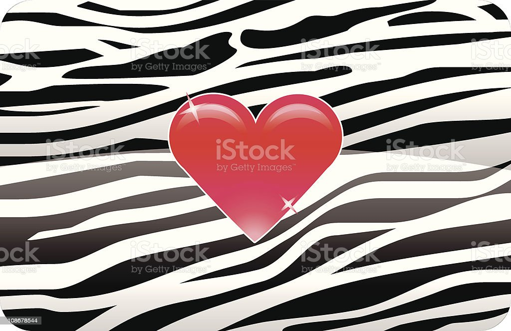 Red Heart on Zebra vector art illustration