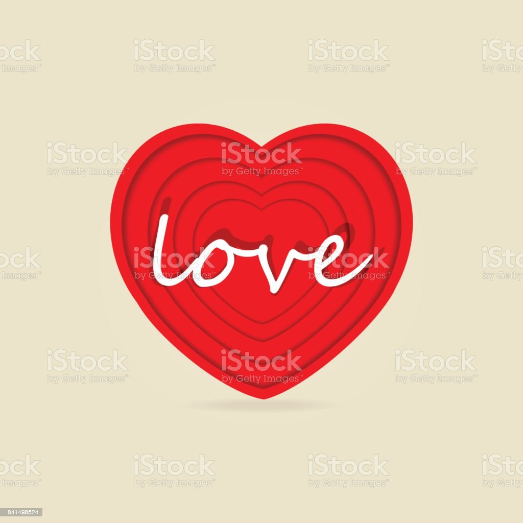 Red heart paper cut icon with text vector art illustration