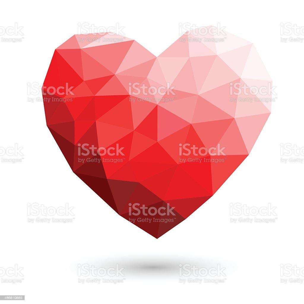 Red heart polygonal abstract on white backgrounds Vector illustr vector art illustration