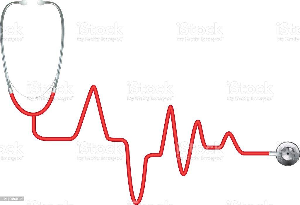 Red Heart Rate Stethoscope - EKG vector art illustration