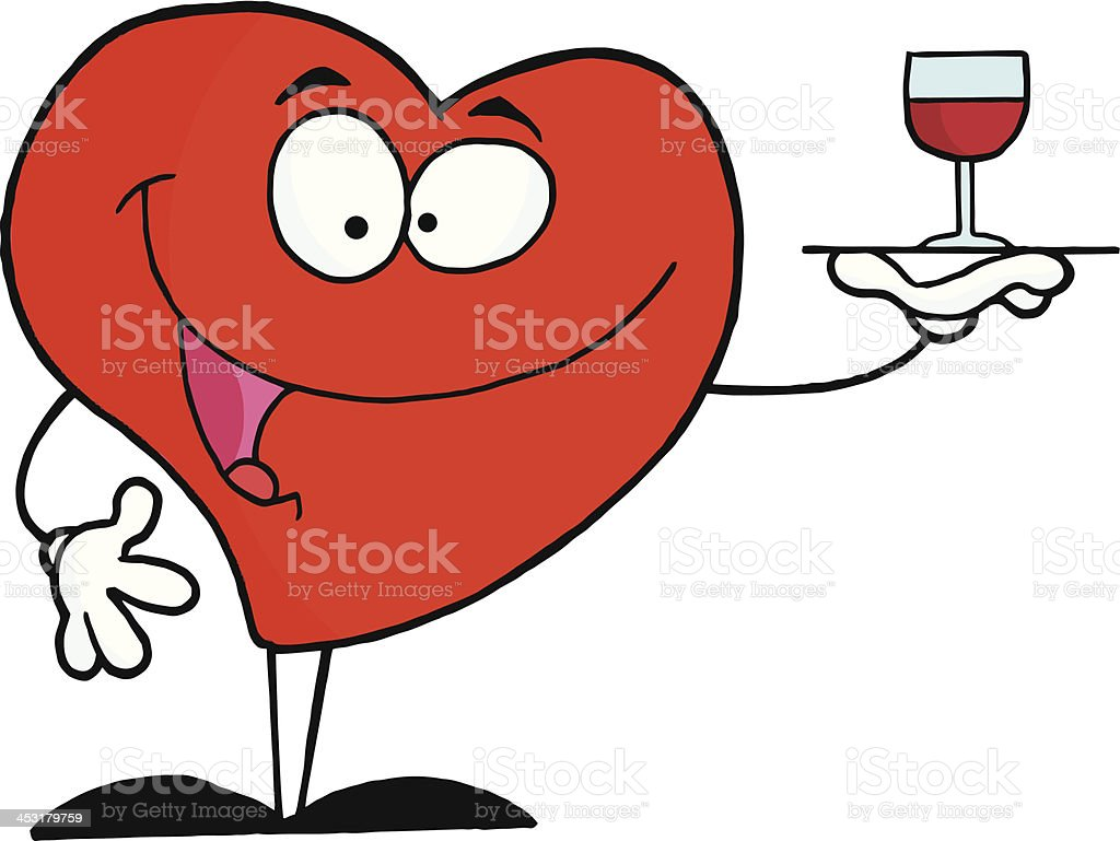 Red Heart Serving A Glass Of Wine royalty-free stock vector art