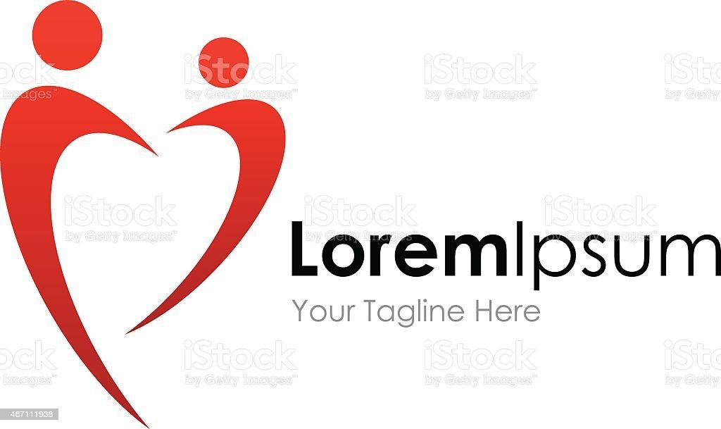 Red heart shape couple hug element icons business logo vector art illustration