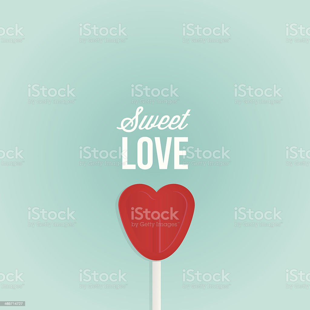 Red heart shaped animated lollipop on pale blue background vector art illustration