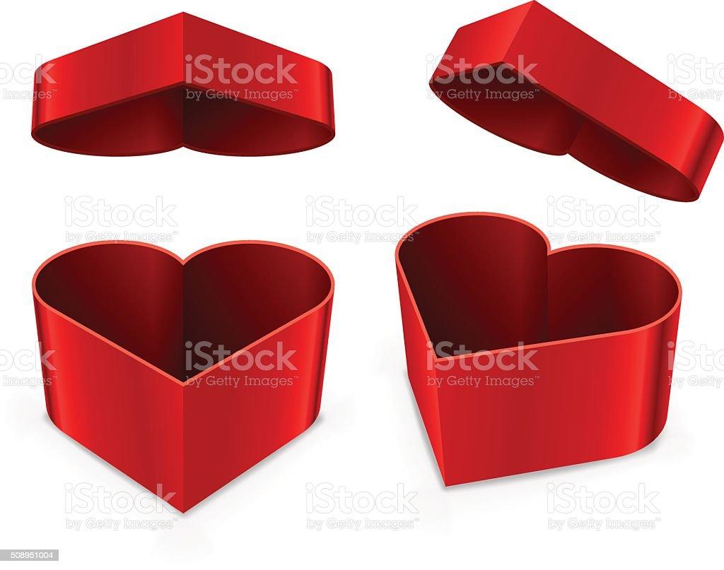 Red heart shaped box vector art illustration