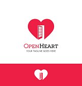 red heart with an open door icon for creative use
