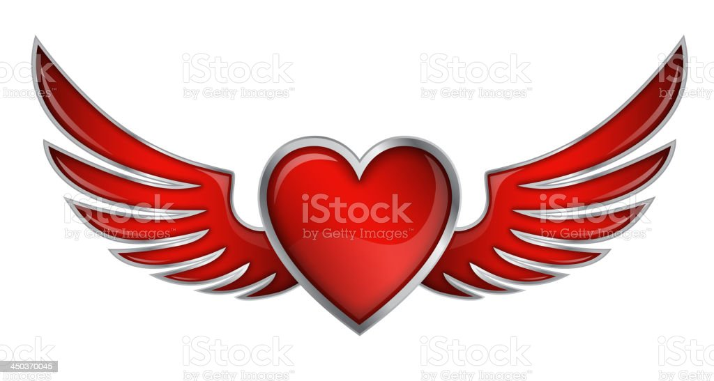 Red Heart With Angel Wings On White Background Vector Illustration royalty-free stock vector art