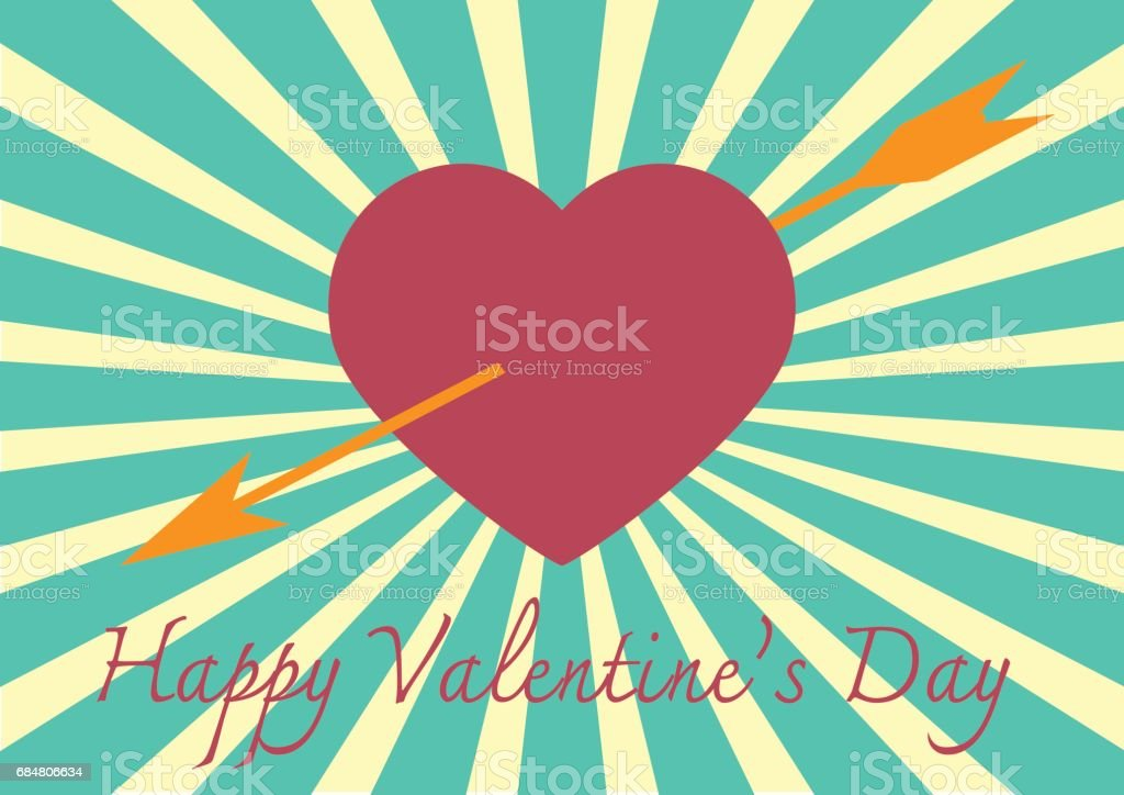 Red heart with arrow on Sunrays Illustration with Valentine's Day vector art illustration