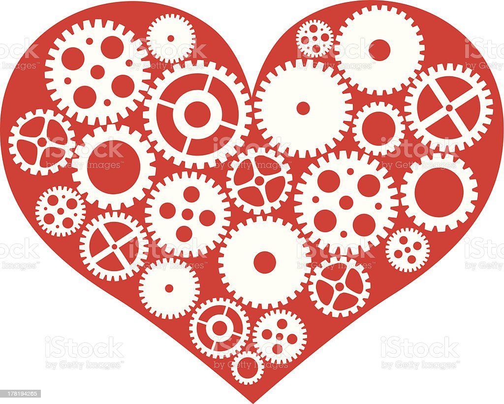 Red Heart with Mechanical Gears Vector Illustration royalty-free stock vector art