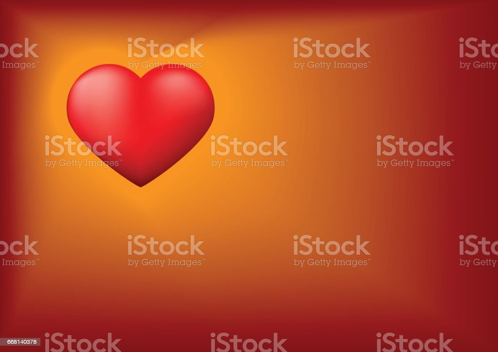 Red heart with Valentine's day background vector art illustration