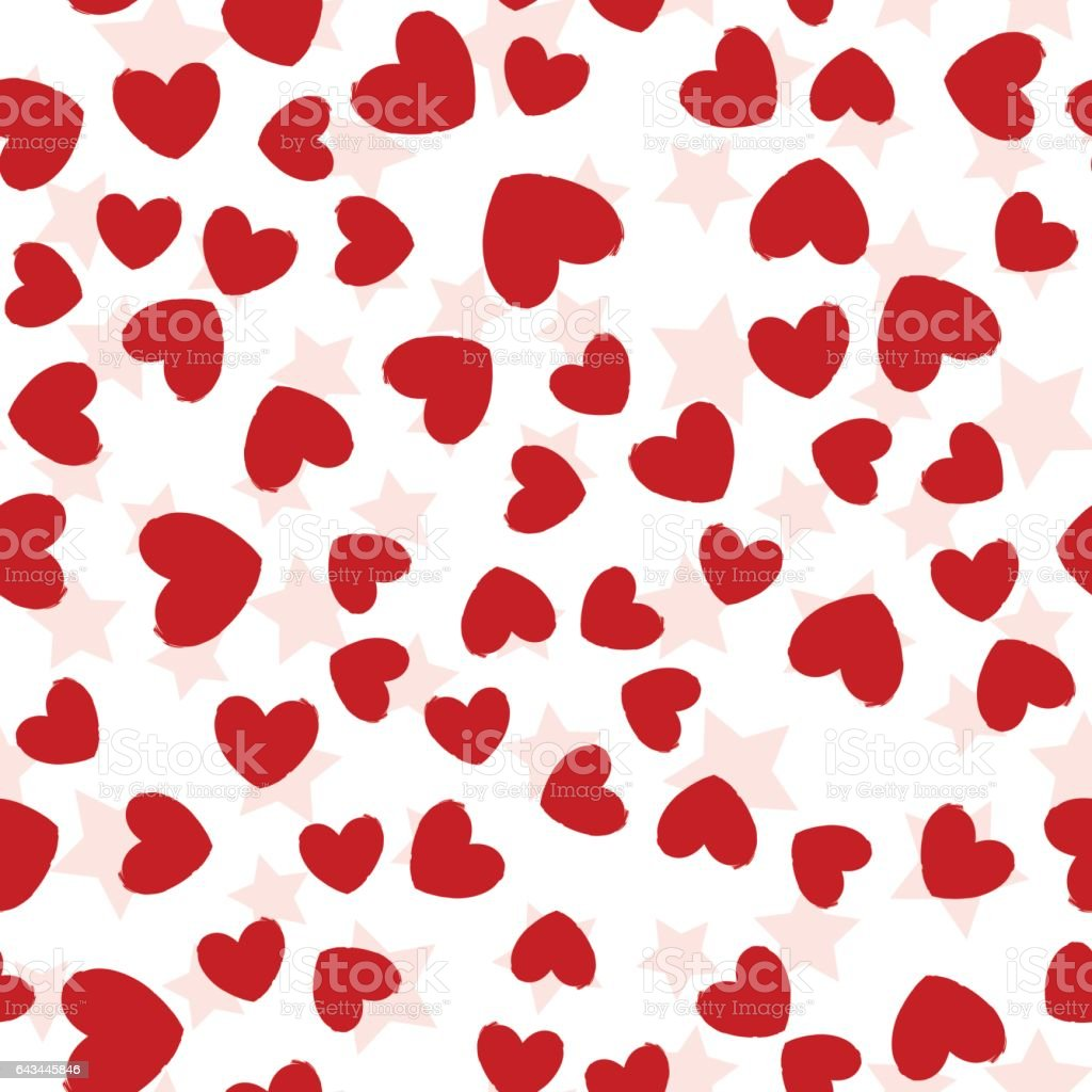 Red Hearts and Stars Seamless Pattern vector art illustration