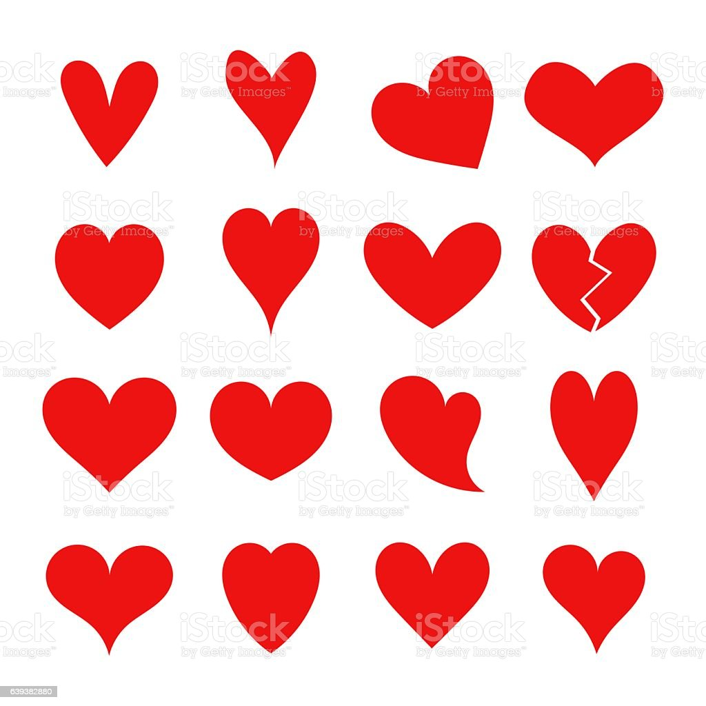 Red hearts collection vector art illustration