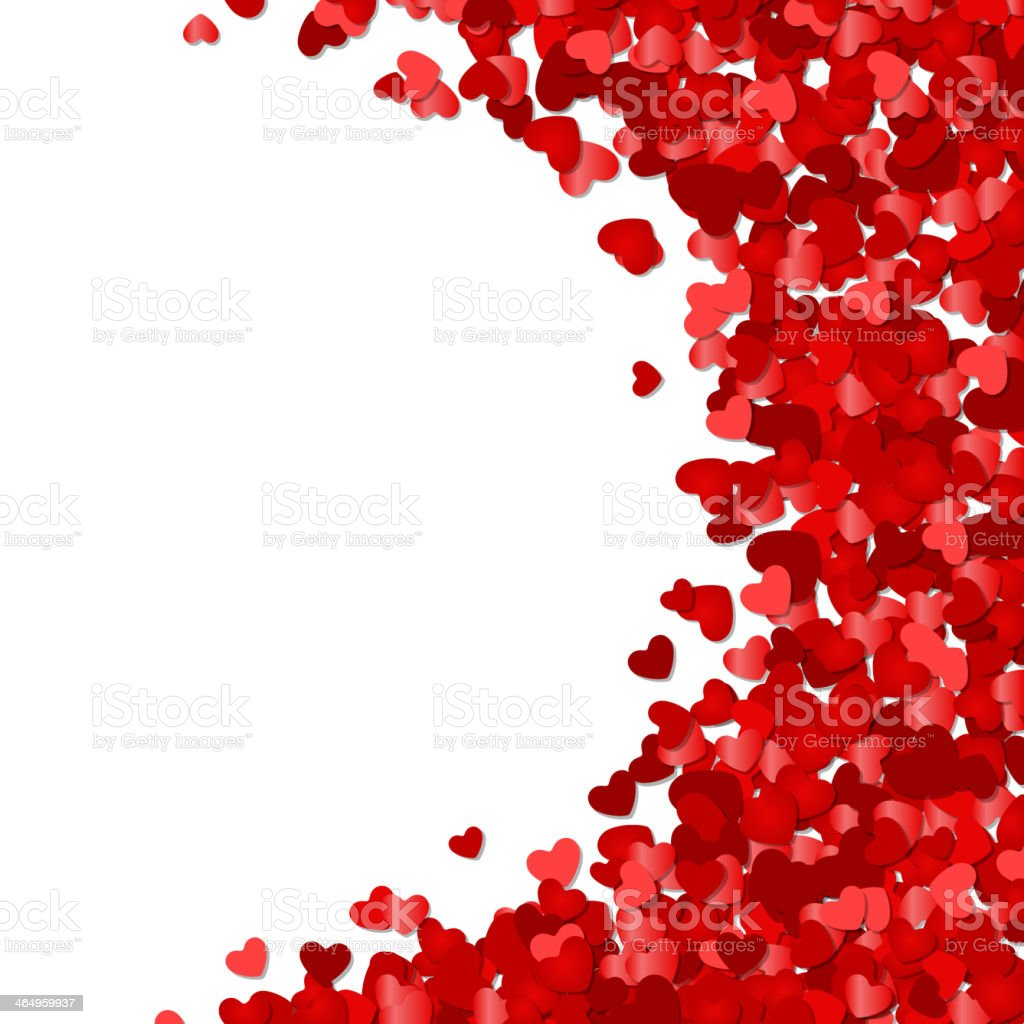 Red hearts confetti Valentine's day or Wedding vector art illustration