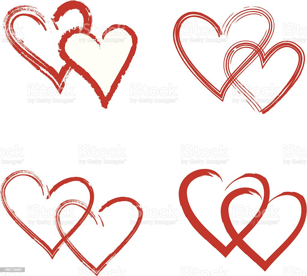 Red Hearts Hand-drawn & Symbols - Illustration royalty-free stock vector art