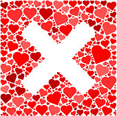 X Red Hearts Love Pattern