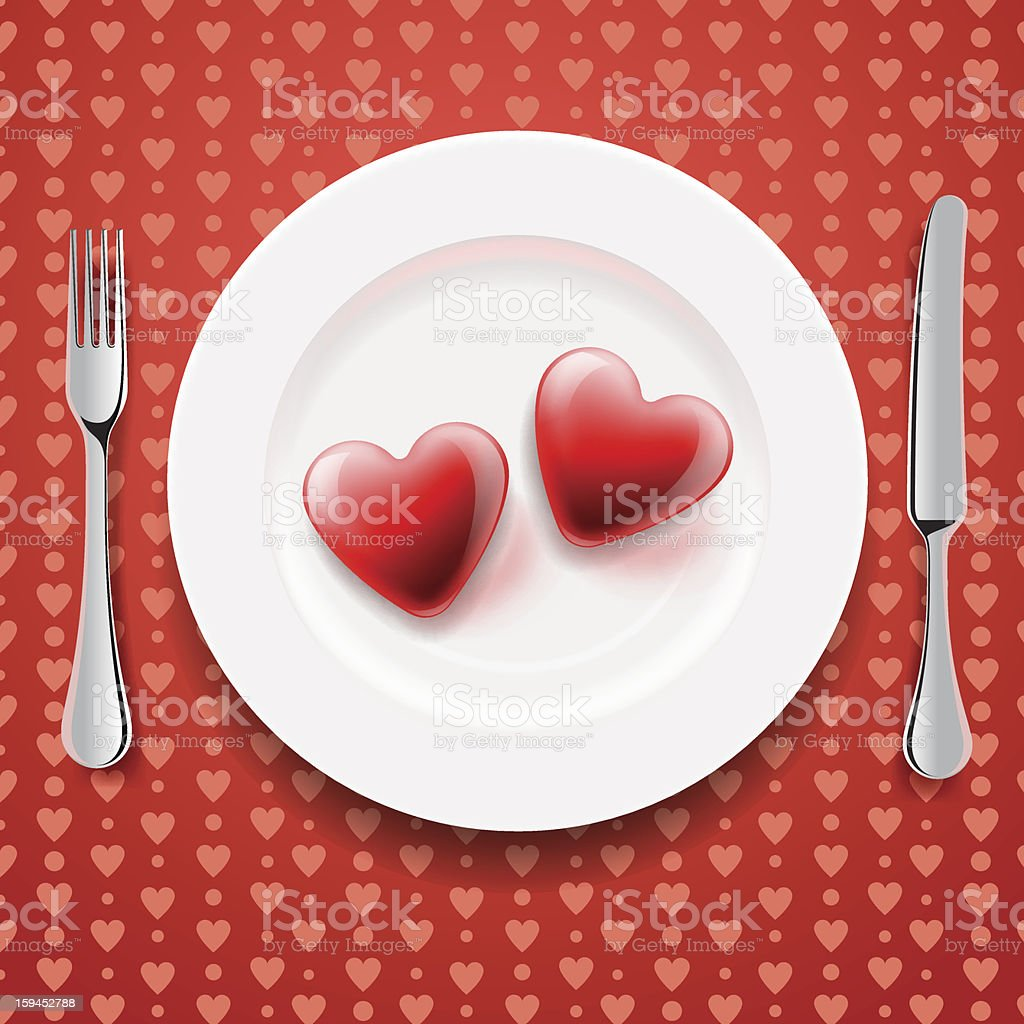Red hearts on a plate, Valentine's Day royalty-free stock vector art