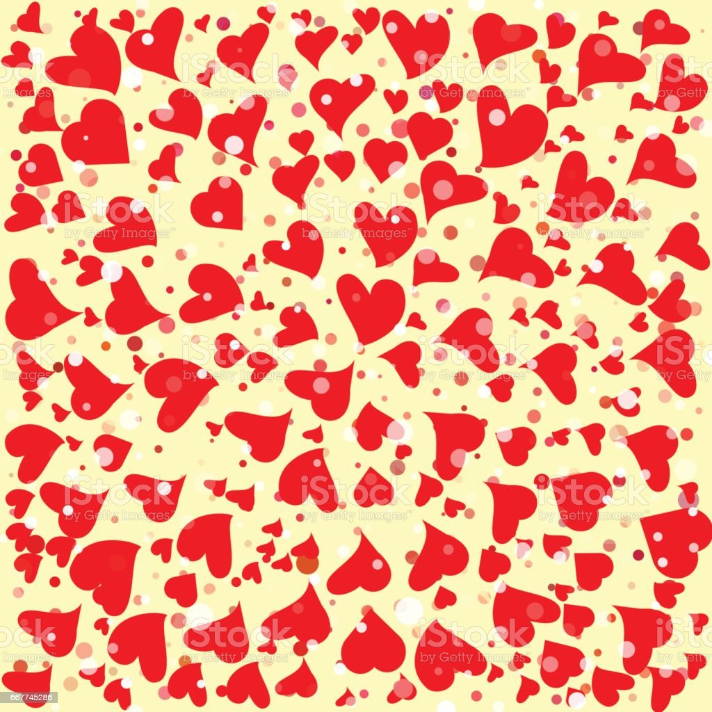 Red hearts round background template. Halftone circle vector illustration. vector art illustration