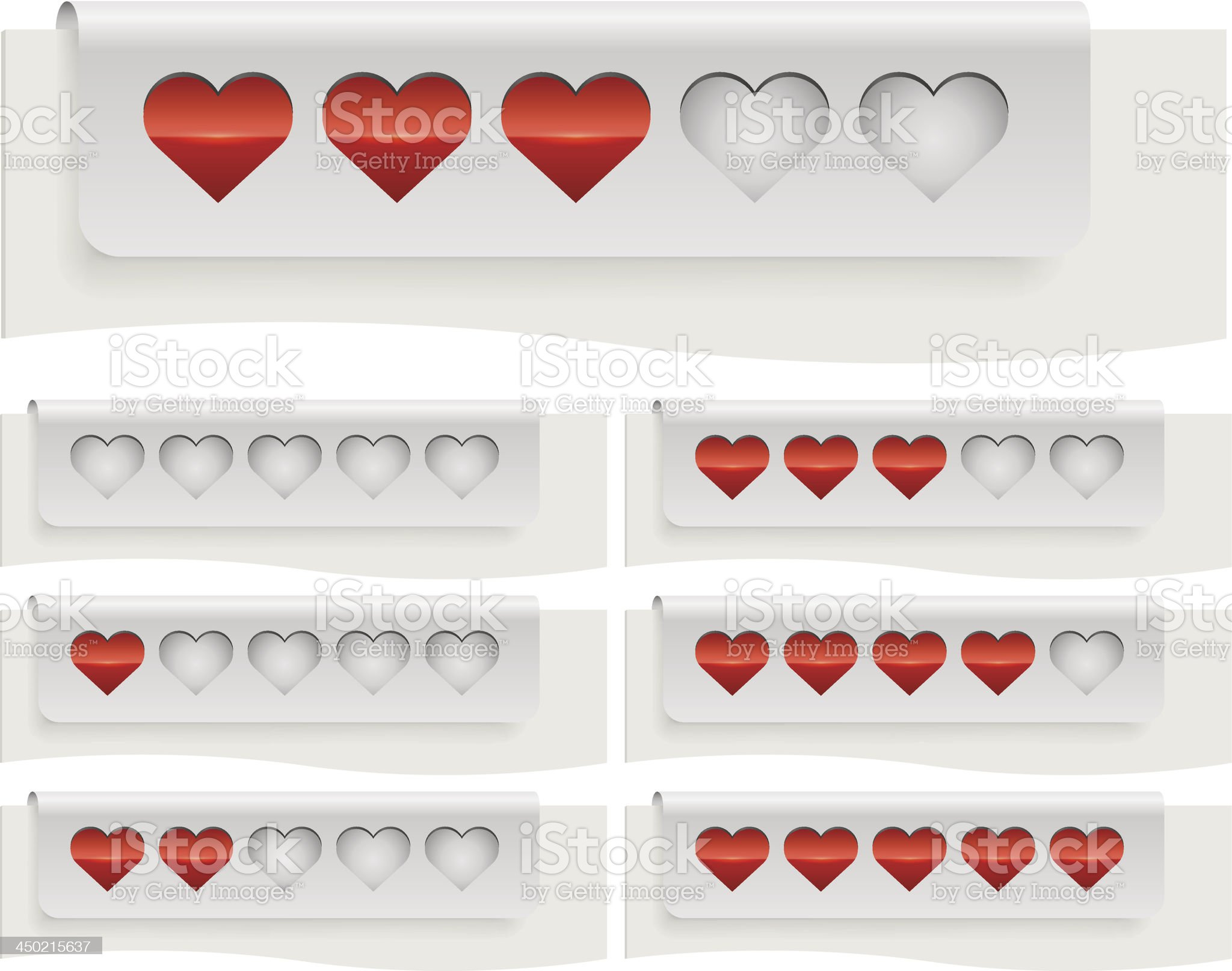 Red hearts status bar royalty-free stock vector art