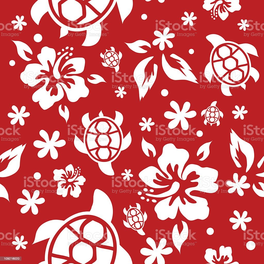 Red hibiscus and sea turtle vector art illustration