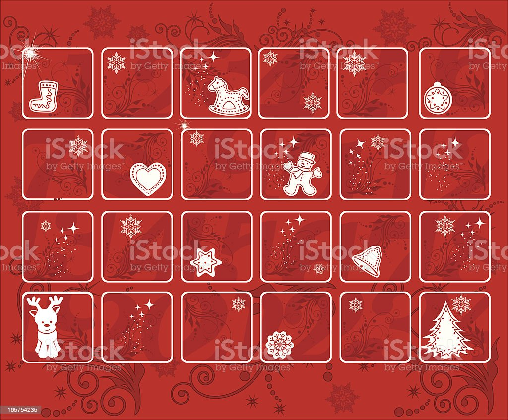 Red Holiday Advent calendar with Christmas icons throughout vector art illustration