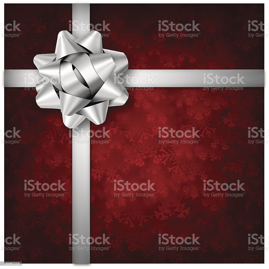 Red Holiday Background with Silver Bow vector art illustration
