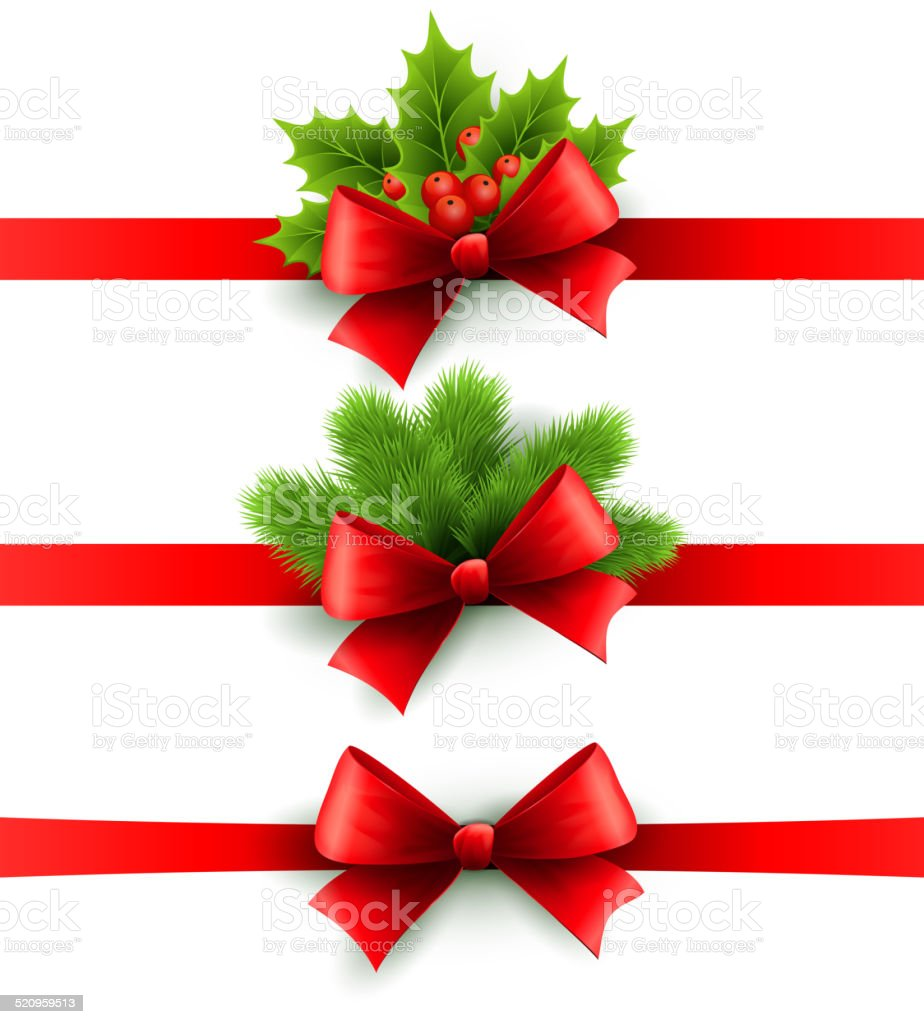 Red holiday ribbon with bow. holly and pine decoration vector art illustration