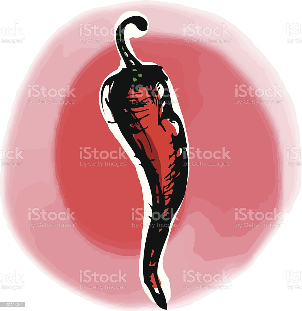 Red hot chilli vector art illustration