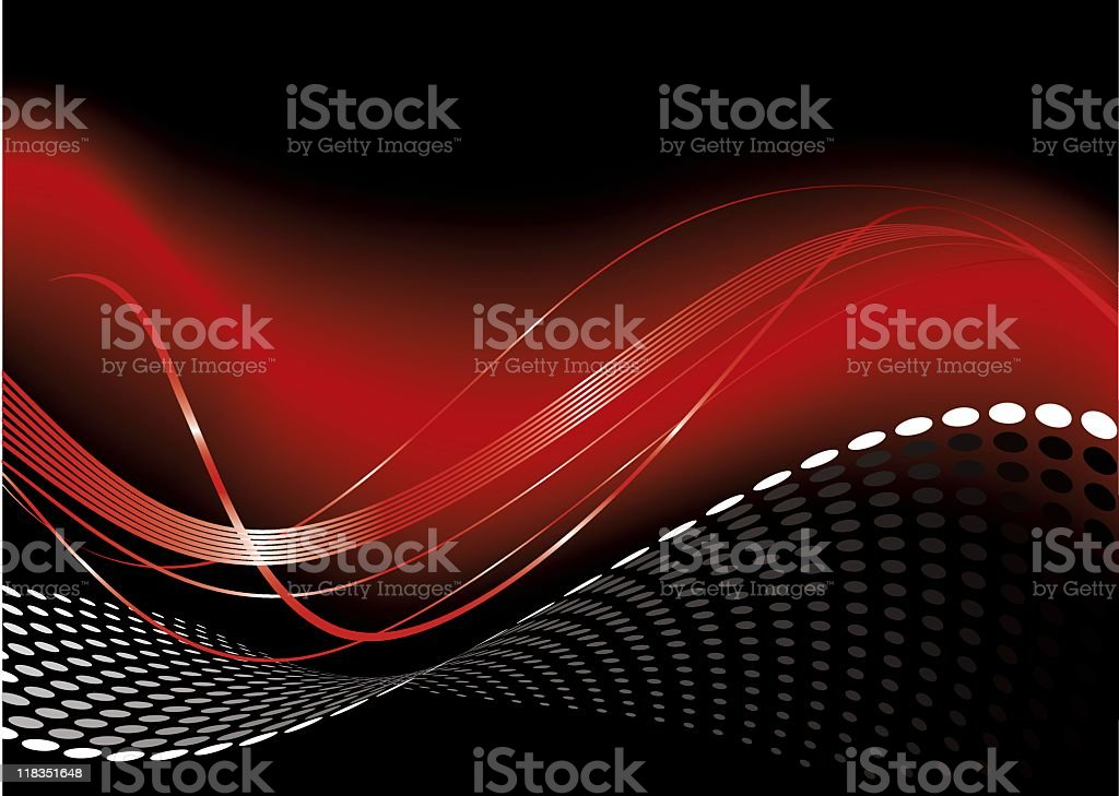 Red Hot Swirls and Dots vector art illustration