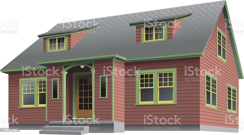 Red House Green Trim royalty-free stock vector art