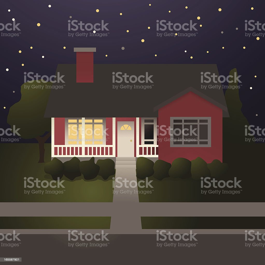 Red House with Covered Porch at Night vector art illustration