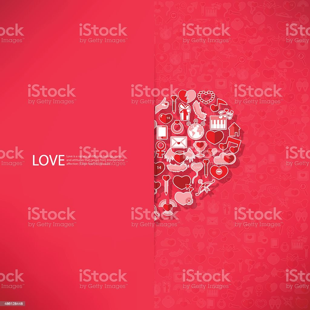 Red icon heart Valentines day card with sign vector art illustration