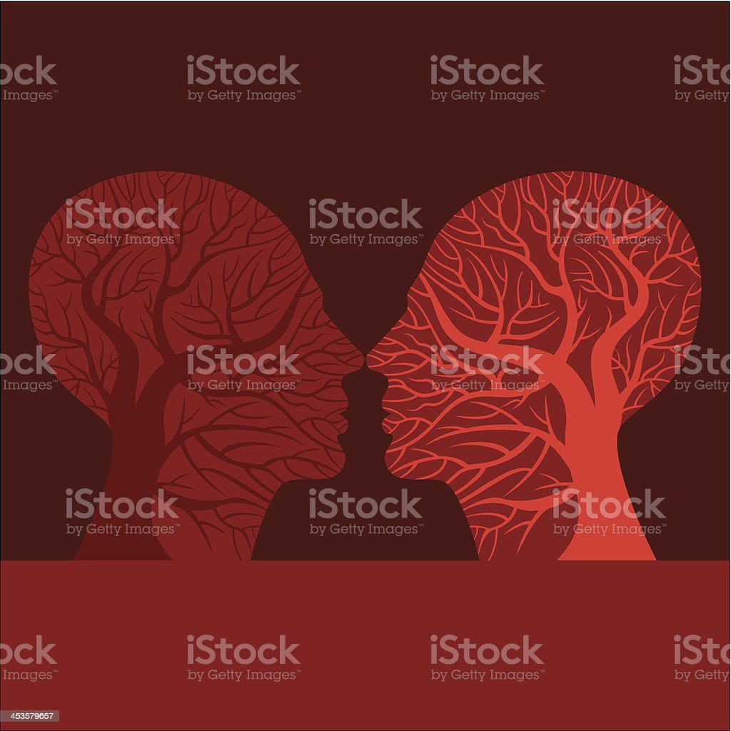 Red illustrated profile of two people about to kiss royalty-free stock vector art