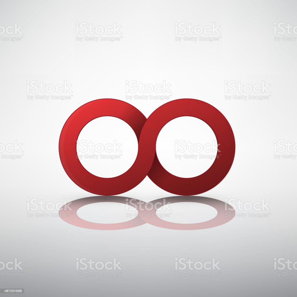 Red infinity sign vector art illustration