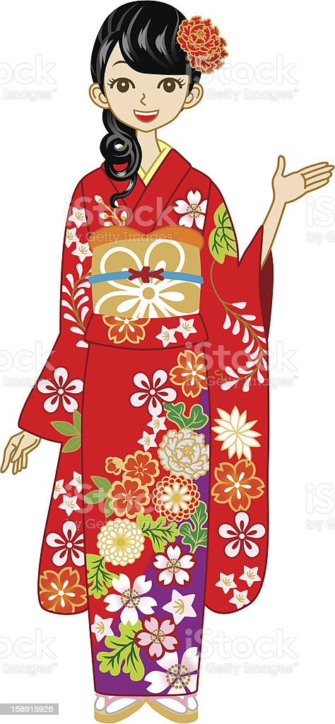Red Kimono woman, Guide royalty-free stock vector art