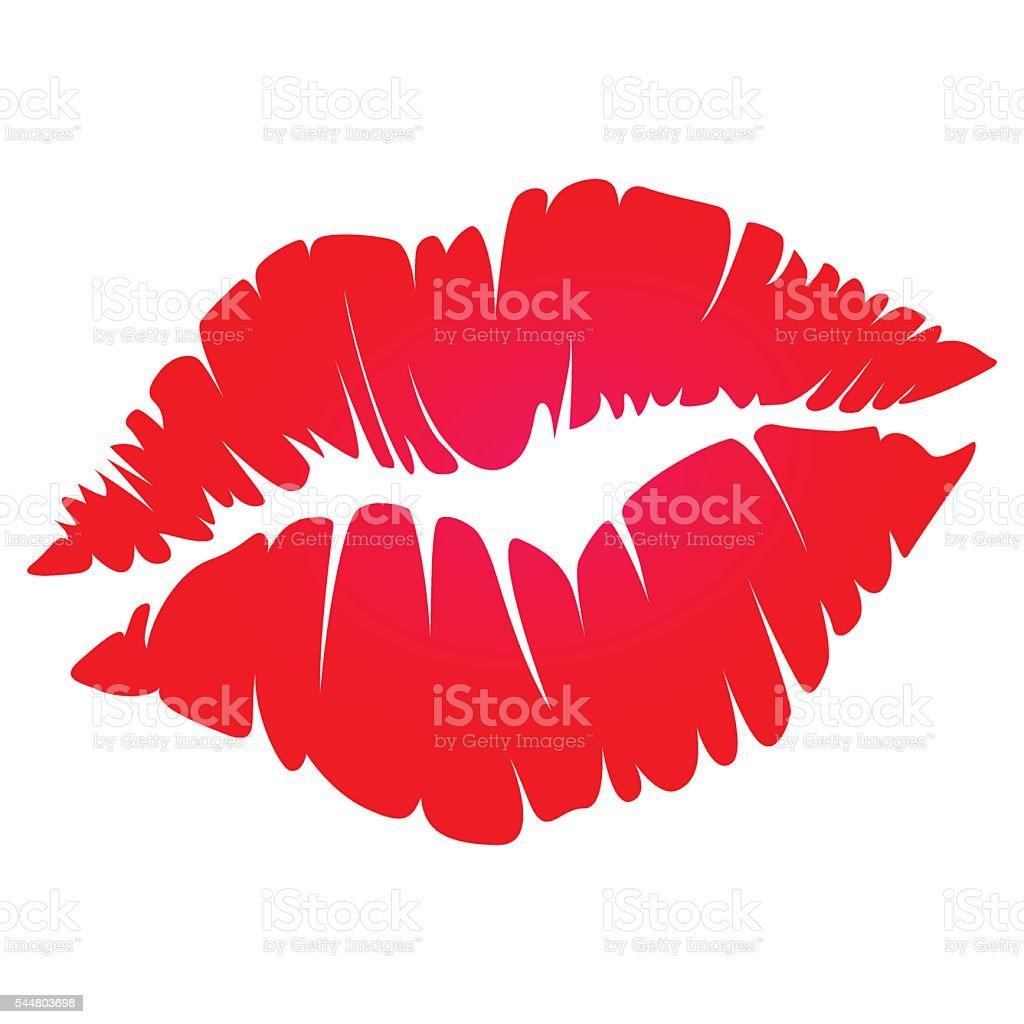 red kiss vector art illustration