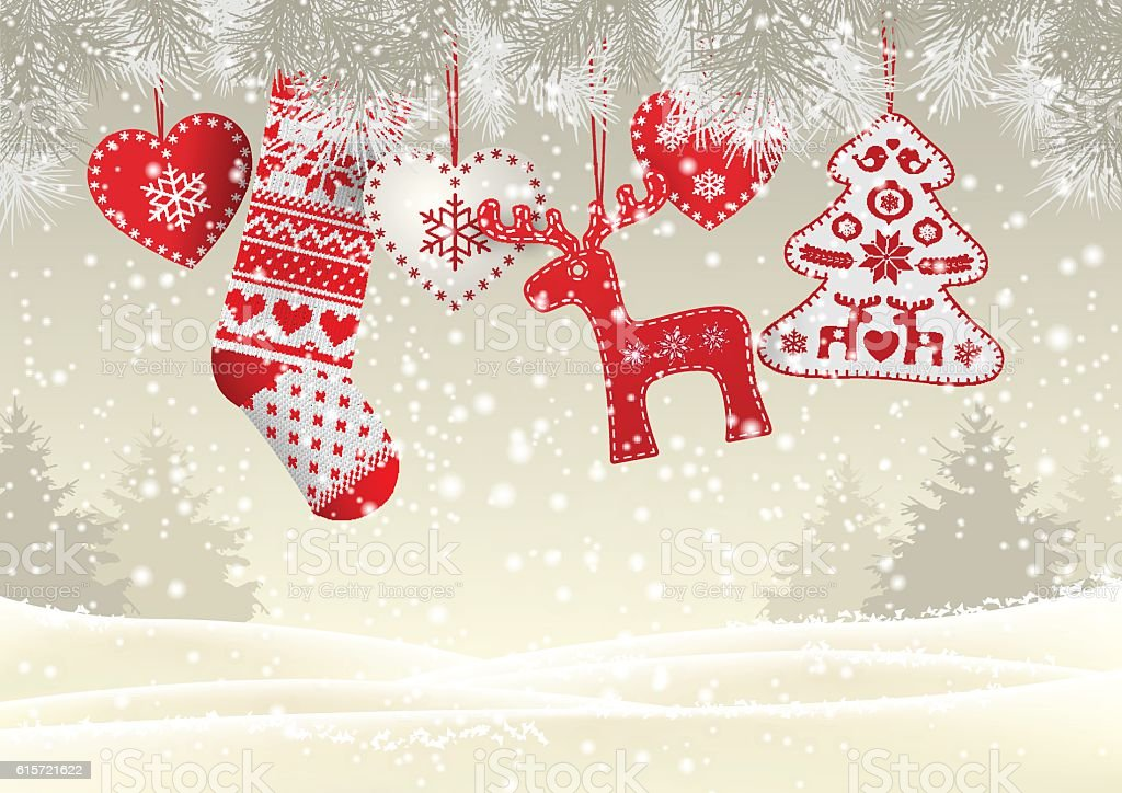 Red knitted christmas stocking with some scandinavian traditional decorations hanging vector art illustration