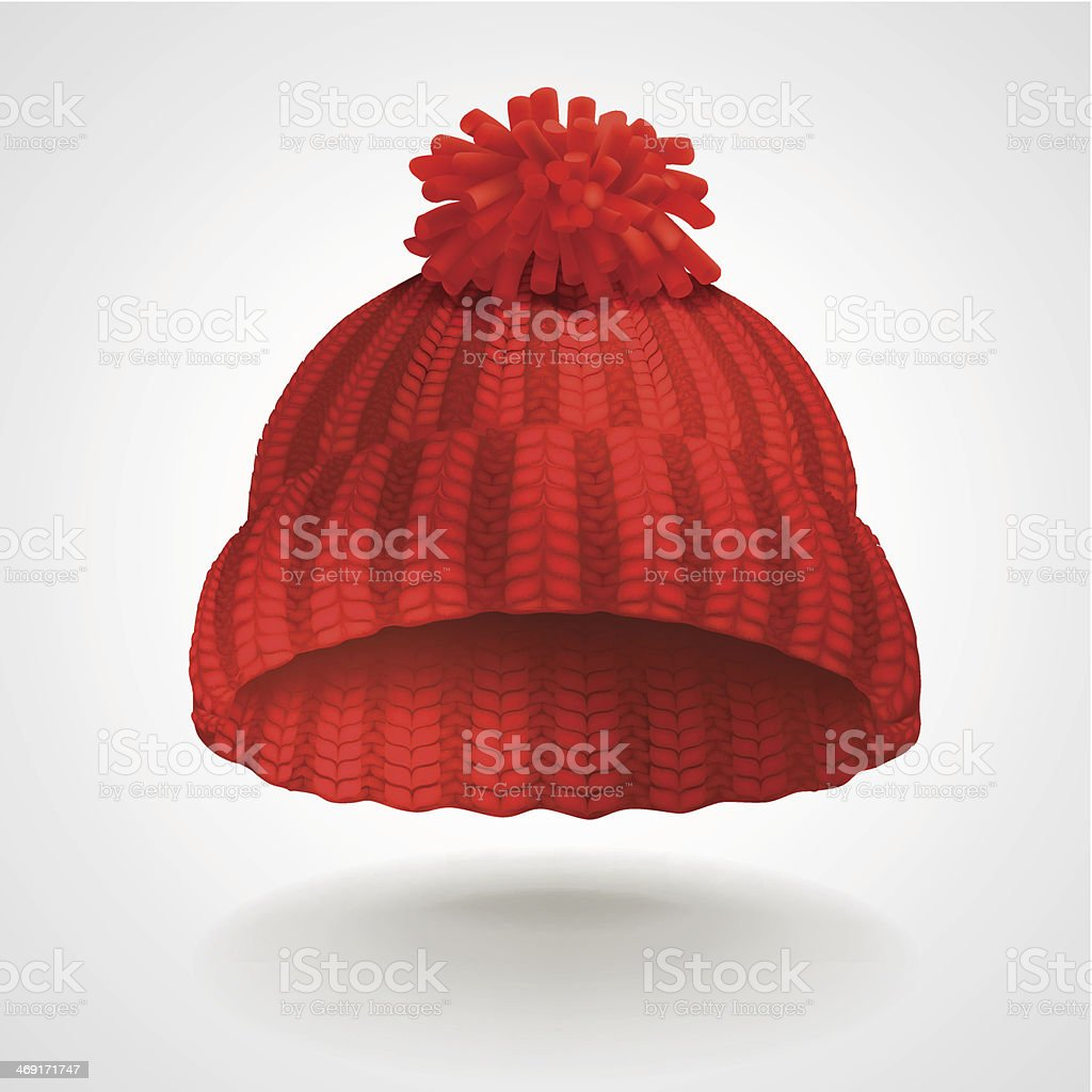 Red knitted hat vector art illustration