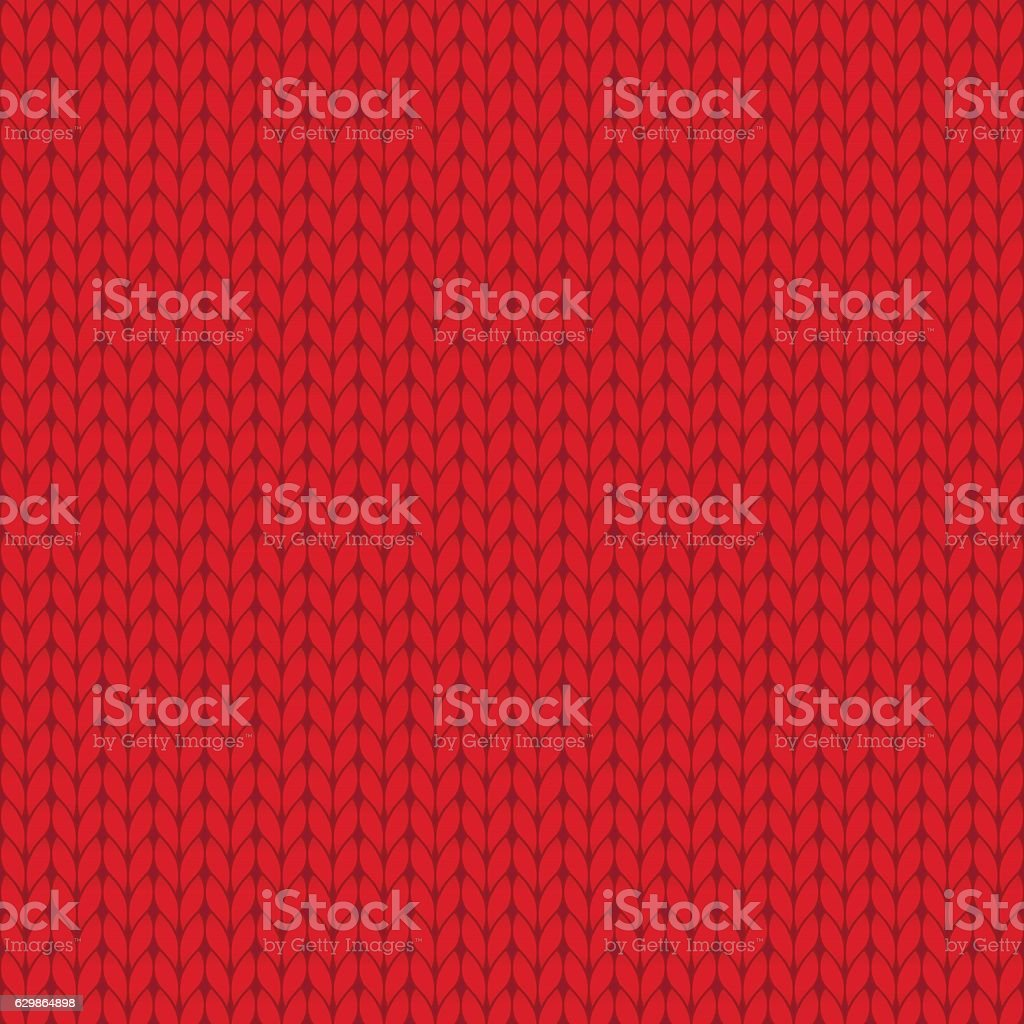 Red knitted seamless pattern vector art illustration