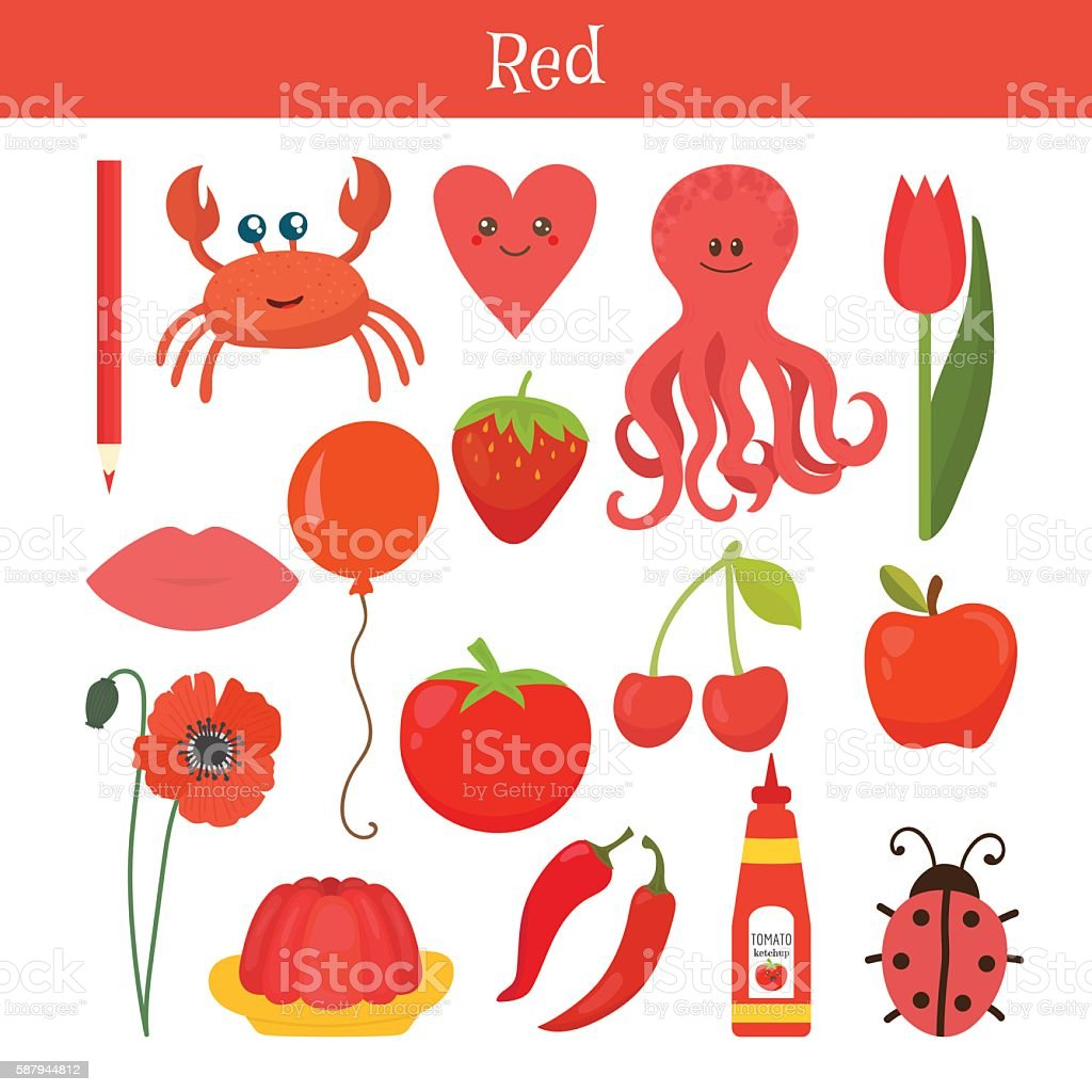 Red. Learn the color. Education set. Illustration vector art illustration