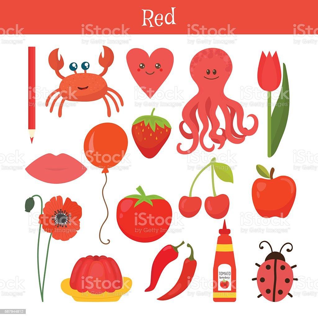 Red. Learn the color. Education set. Illustration vector art illustration