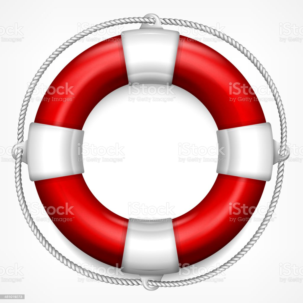 Red life buoy on white vector art illustration