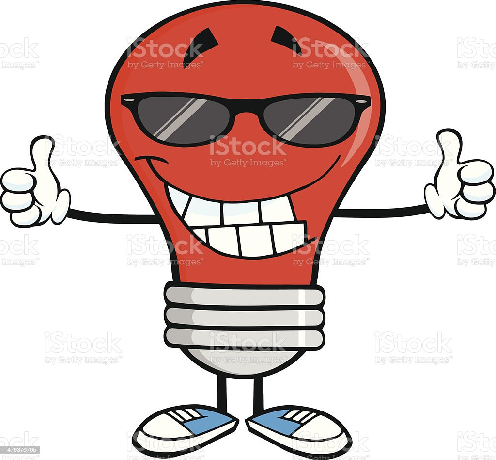Red Light Bulb With Sunglasses Giving A Double Thumbs Up royalty-free stock vector art