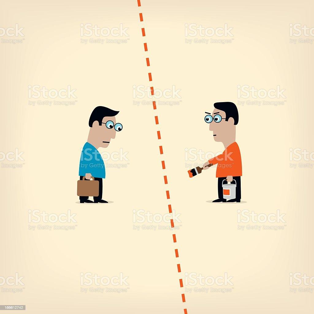Red Line vector art illustration